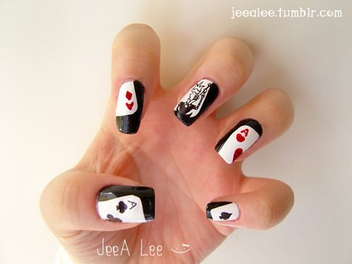 Nail art:    Playing card / poker card nail art design