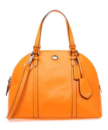 Tangerine Peyton Cora Domed Leather Satchel by Coach #zulily