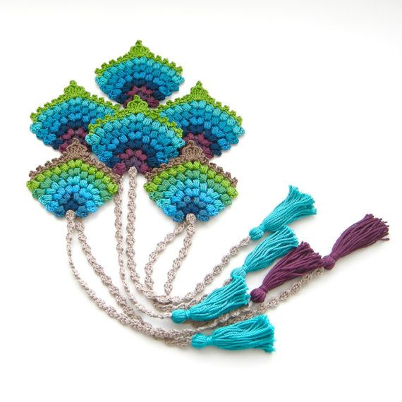 Ganchillo patrón marcador abanico de plumas por TheCurioCraftsRoom