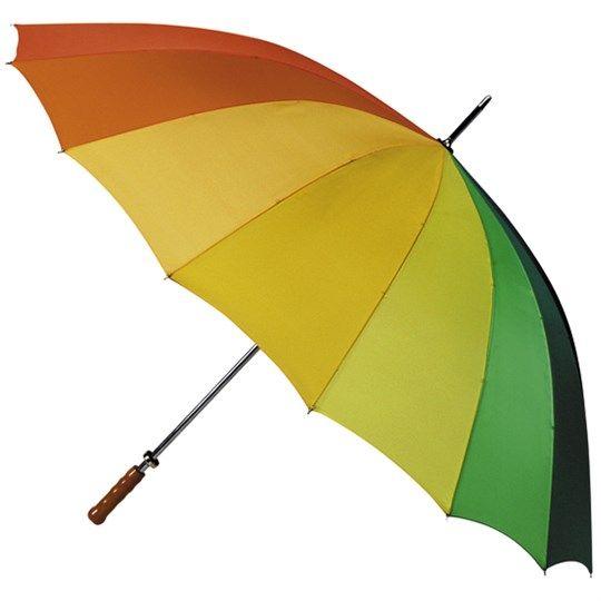 Regnbuefarvet paraply Med denne flotte multifarvet paraply kan du sætte kulør på en regnvejs dag. Paraplyen har en god størrelse uden at være for tung.  Længde sammenslået : 102 cm Diameter : 130 cm 100 % polyester