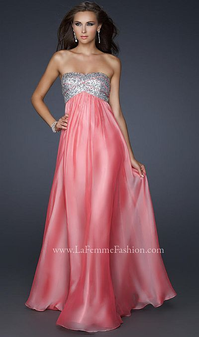 La Femme Strapless Chiffon Prom Dress with Sequin Bust 17513 at frenchnovelty.com