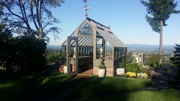 Tudor Style Greenhouse With Gothic Arch Door Deck
