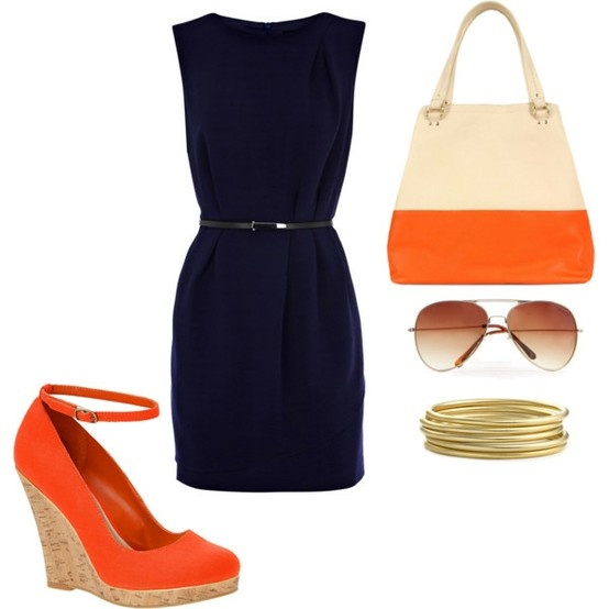 Colors Combos, Summer Orange Outfit, Summer Work Outfit, Orange Dresses Outfit, Wars Eagles, Little Black Dresses, Summer Chic, Classic Looks, The Navy