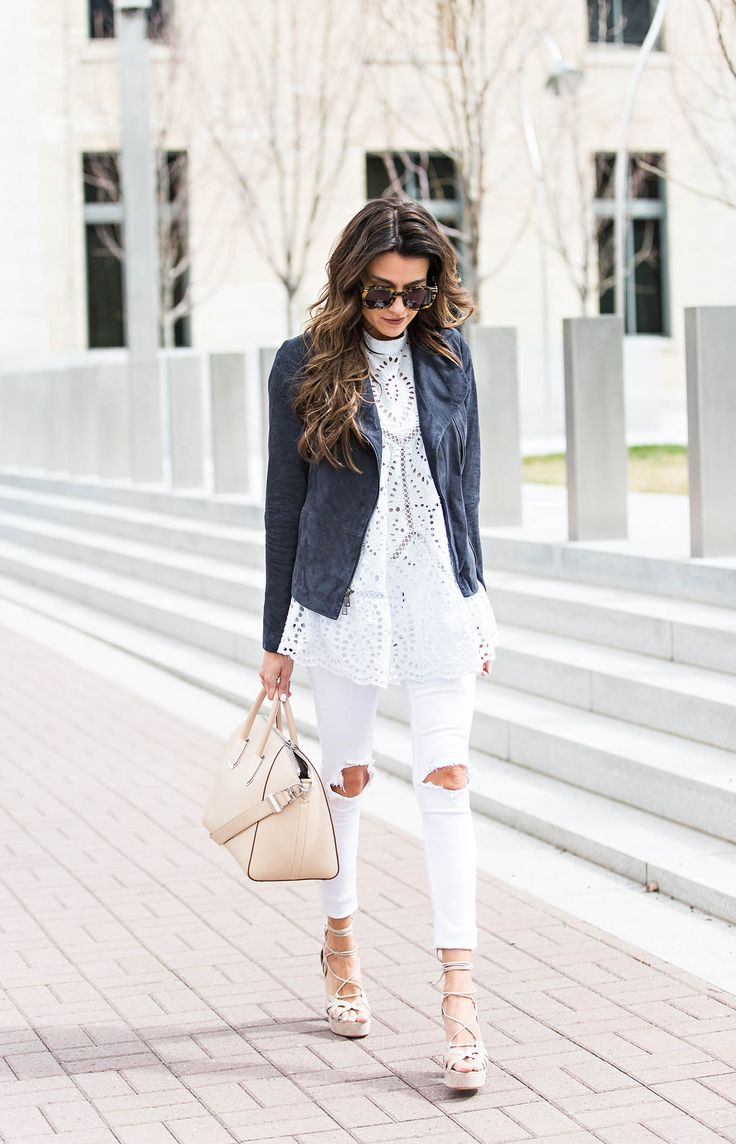 White jeans will look super cute paired with a classic suede jacket, as shown here by Christine Andrew. Wearing contrasting colours will provide another dimension to your every day spring look, we highly recommend it! Dress: Zimmermann, Shoes: M. Gemi, Jacket: Nordstrom, Jeans: Rag & Bone.