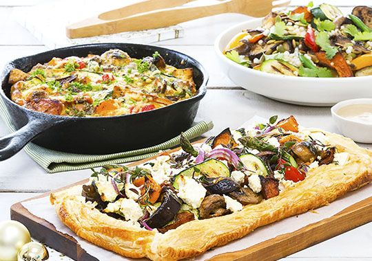 Here's three exciting new ways to serve your roast vegetables this Christmas: try them in a frittata, a tart or with a Moroccan twist!