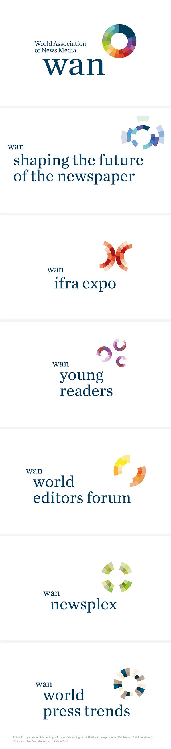 Entwicklung einer modularen Logofamilie für die WAN-IFRA und deren »Sub Brands«. Eingeladener Wettbewerb, nicht realisiert. #logo