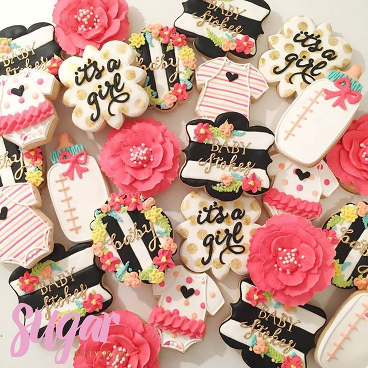 """Baby shower cookies to celebrate the Stokes' future baby girl! These were made to match the invitation!  """"it's a girl"""" plaque cutter by @cookiecutterkingdom and I LOVE it!!#customcookies #dfw"""