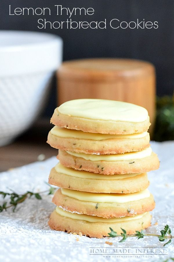 Lemon and thyme shortbread cookies topped with a lemon frosting. A simple, not-too-sweet dessert for Spring. Perfect for Mother's Day or Easter.