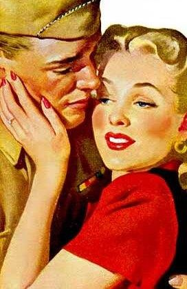 """Please Don't Go,"" by Gil Elvgren. Romantic illustration of a WWII era husband and wife as they embrace before a soldier is sent overseas, ca. 1940s ~"