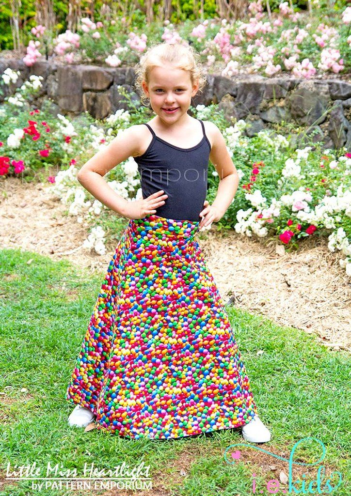 Girls Little Miss Heartlight Skirt PDF Sewing Pattern. Short & Maxi skirts with yoga style waistband. Size 2-14. Designed for stretch fabrics. A-line.