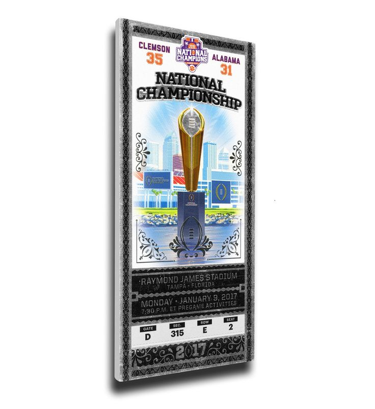 Clemson Tigers Wall Art - 2016 Football National Champions Canvas Mega Ticket