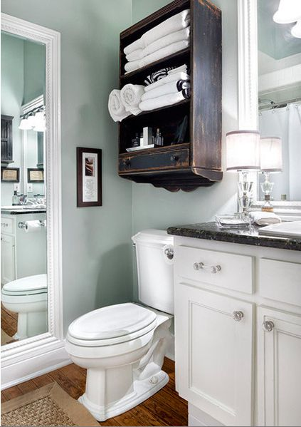 Mirror To Make A Powder Room Feel Ger Love The Color On Walls And Distressed Shelf Favorite Places Es Pinterest Bathroom