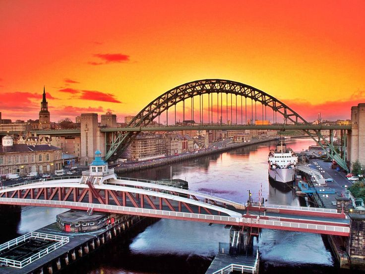 Newcastle Upon Tyne, England, United Kingdom #europe #newcastle #england #unitedkingdom #britain #bridge #river #sunset #adventure #travel #vacation