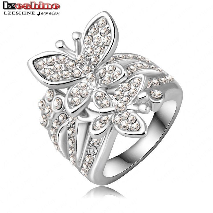 LZESHINE Newest Beautiful Butterfly Engagement Rings for Women With Silver Plating Czech Crystals Wedding Jewelry Ri-HQ0161
