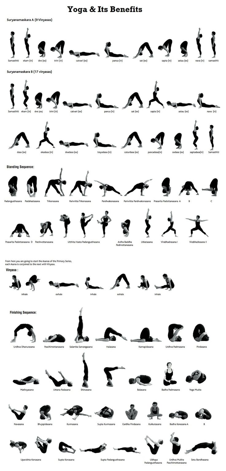 Series of Yoga poses. Great find for someone looking for a comprehensive list of yoga poses.