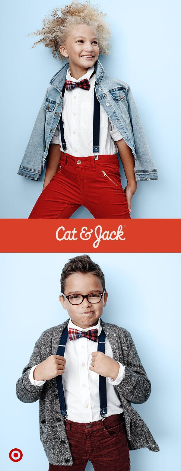 Seeing double? Cat & Jack's new holiday collection has all the classic pieces you need to get the kids dressed up for the party. That means classic white dress shirts and cool jackets and sweaters to layer on top. Then, let your kids' style shine with tons of accessories, from bow ties and suspenders to fuzzy purses, so they can make each look their own.