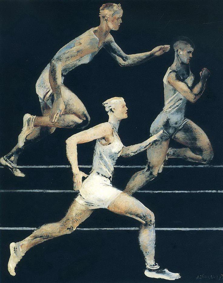 "hipinuff: "" Aleksandr Deyneka (Russian, 1899-1969), Running, 1930. Oil on canvas. Museo d'Arte Moderna di Ca' Pesaro, Venice. """