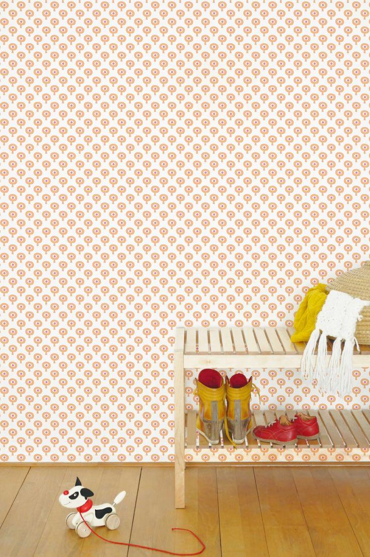 retro bomenbehang in oranje/rood | Tis Lifestyle behang fe?