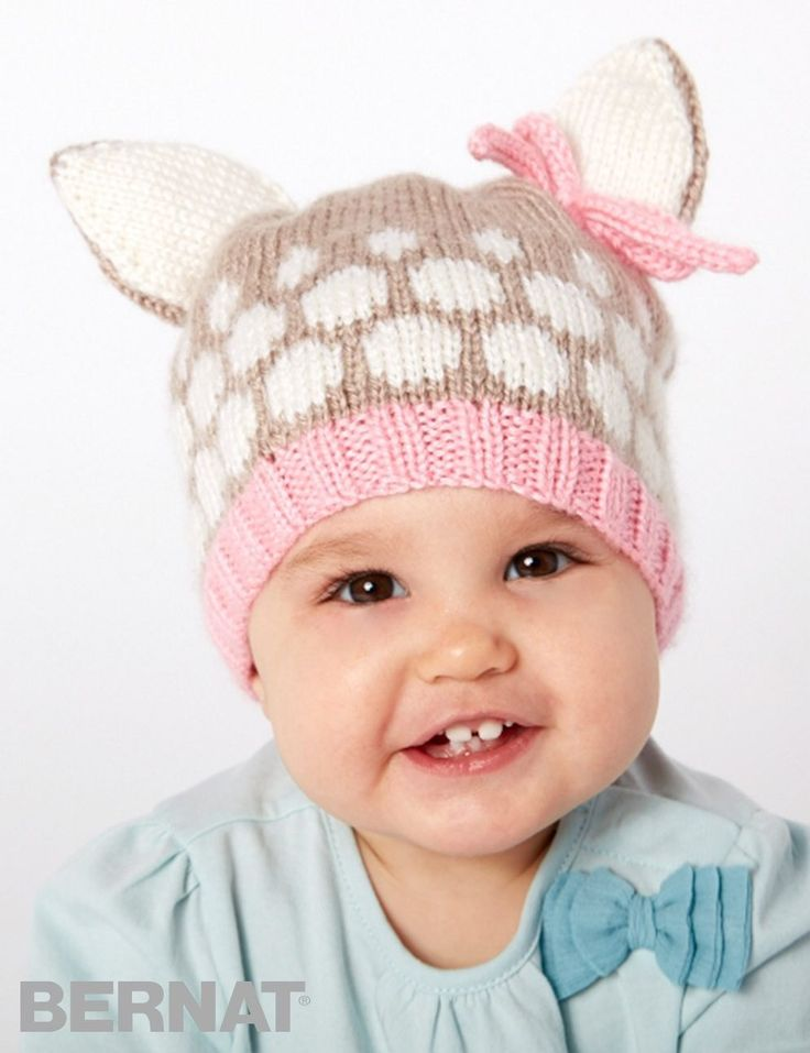 Free knitting pattern for Speckled Fawn Hat - Free knitting pattern for Speckled Fawn Hat - Bernat's hat is sized for 6/12 mos 17″ [43 cm], 18/24 mos 18″ [45.5 cm], and 4 yrs 19″ [48 cm]