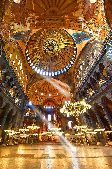 The Islamic decoration on the domes of the interior of Hagia Sophia.  Istanbul, Turkey