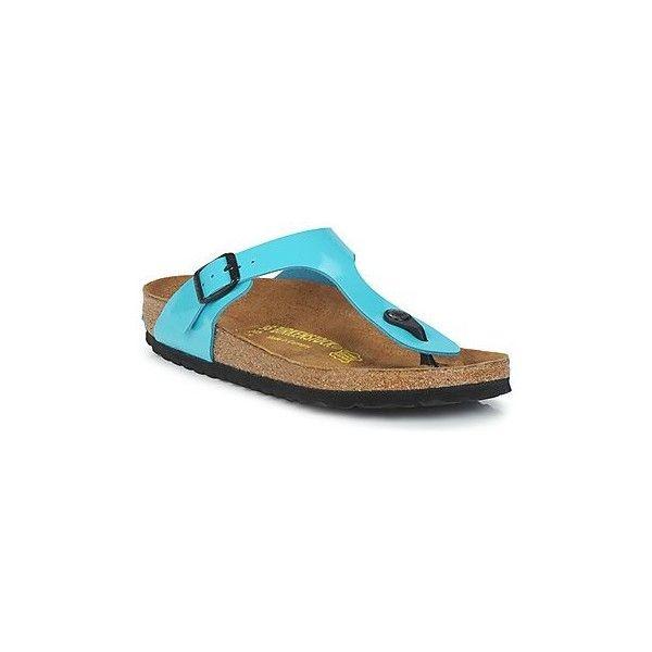 Birkenstock GIZEH Flip flops / Sandals (Shoes) ($65) ❤ liked on Polyvore featuring shoes, sandals, flip flops, blue, women, birkenstock flip flops, blue shoes, synthetic shoes, blue sandals and birkenstock