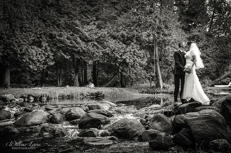 Black & White wedding photo Willow Lane Photography - Barrie Wedding Photographer www.willowlanephotography.ca Creek wedding photos