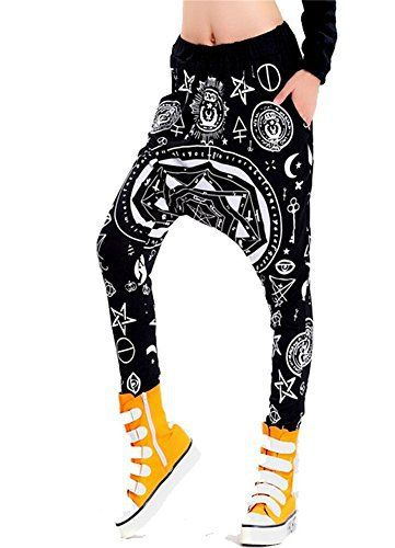 LATH.PIN Femme Lâche Sarouel cordon ajustable Longueur Pantalons (harem5): Tweet Coton Mélangé femme Baggy Harem Hippie Hexagram impression…