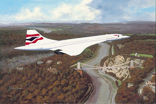 Concorde overflying the suspension bridge Bristol for it's final flight home to Filton.