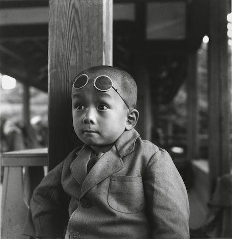 """""""Boy with Goggles""""  1948 Silver gelatin print  The Horace and Masako Bristol Trust"""