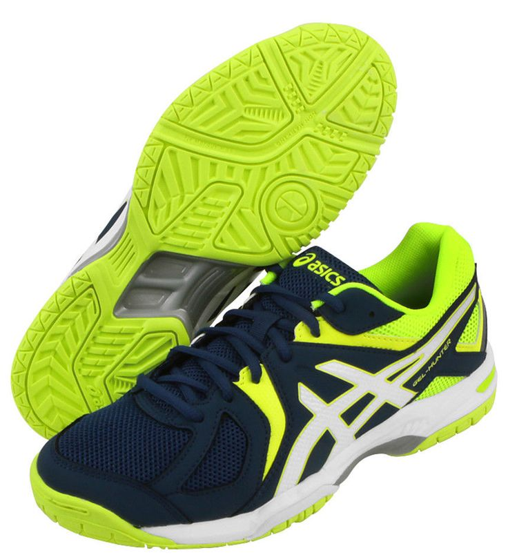 Asics Gel Hunter 3 Men's Badminton Shoes Racquet Indoor Navy Yellow  R507Y-5801