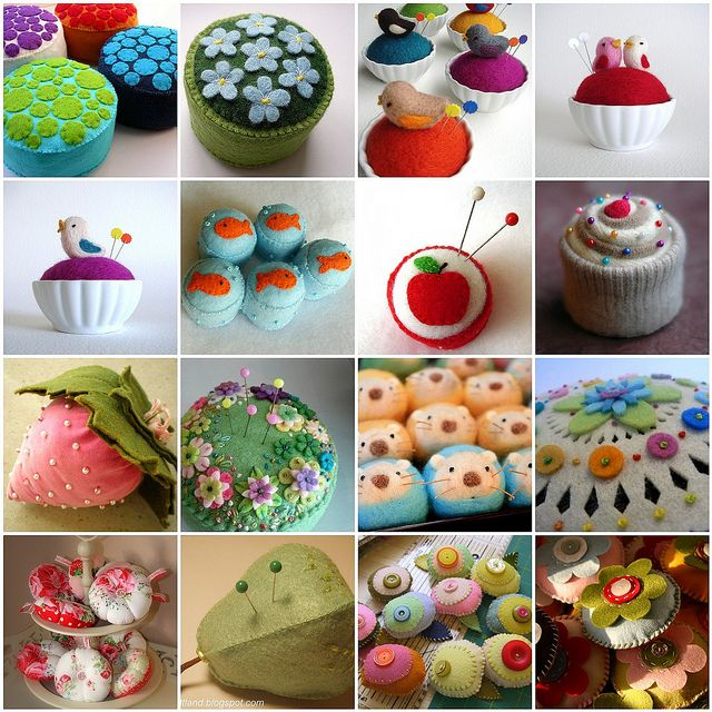 the best collection of pincushions i've ever seen: Photos, Houses Quilts, Fun Pincushions, Paño Lenci, Photo Shared, Alfileteros De, Cherries Houses, House Quilts, De Paño