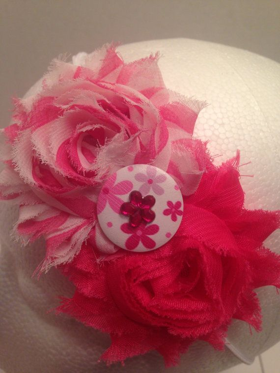 Pink Shabby Flower Headband With Button Accent by LittleBugBling