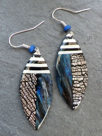 kazachok2, Vert Cerise. Earrings made from polymer clay.