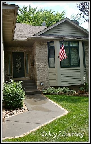 Dress up your sidewalk by laying pavers next to front walkway. :: Hometalk