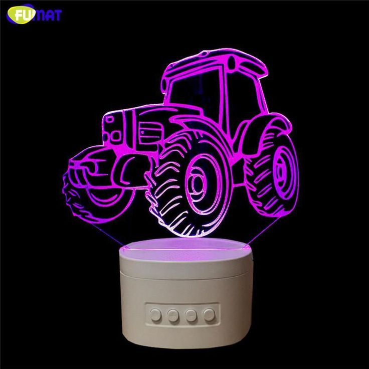 Tractor 3D Speaker Lamp Novelty Tractor Bluetooth Speaker Usb Music Night Light Bedside Lampara W/ Color Changeable Gift