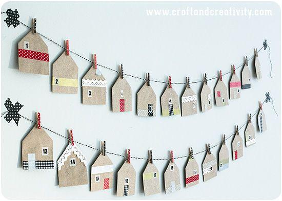 Calendario dell'avvento - sacchetti di carta + masking tape + mollette di legno – House shaped favor bags