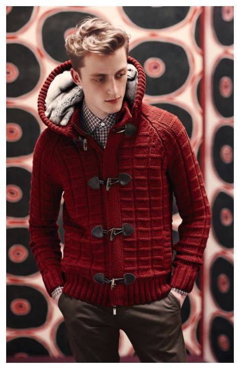 Red Waffle Weave Cardigan with Fur Lined Hood and Toggle Closure. Men's Fall Winter Fashion.