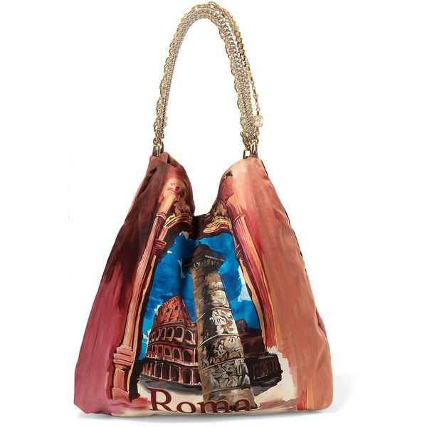 DOLCE & GABBANA   Chain-trimmed printed satin-twill tote ($900) ❤ liked on Polyvore featuring bags, handbags, tote bags, multi coloured handbags, white tote bag, white handbag, multi color purse and handbags tote bags