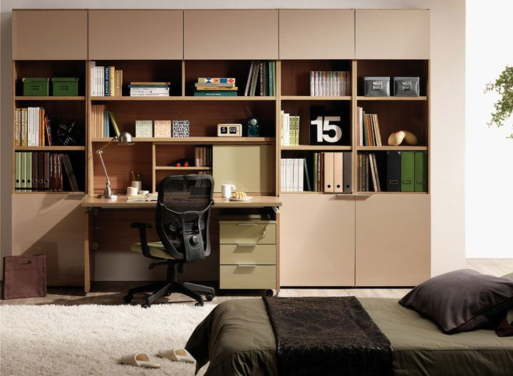 Beige Bookshelves Furniture with Study Desk: Beige Bookshelves Furniture with Study Desk