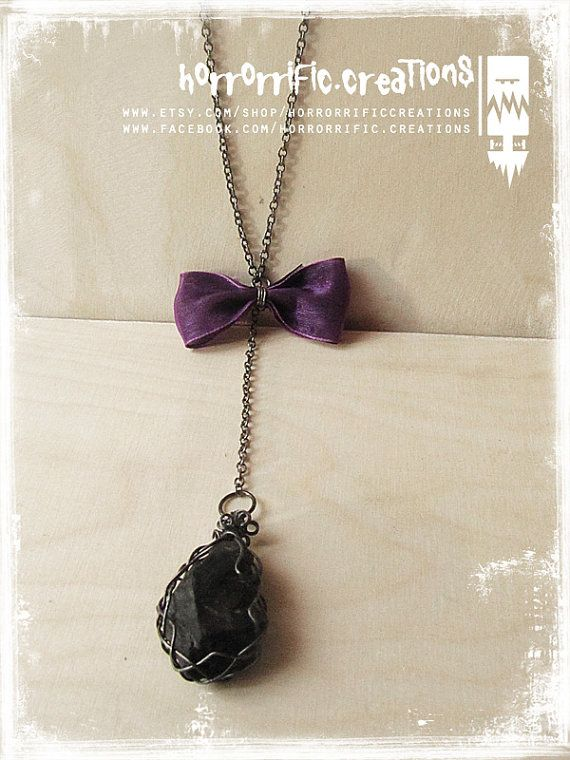 Beauty in Black raw fluorite necklace by HorrorrificCreations