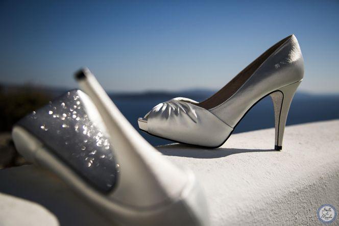 Bridal Shoes | Santorini Wedding by Stella and Moscha - Exclusive Greek Island Weddings | Photo by Nikos P. Gogas