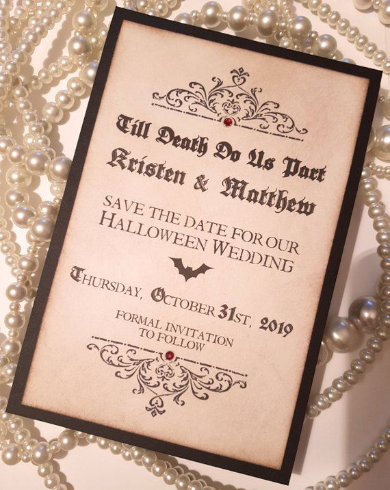 Save The Dates Halloween Save The Date Gothic Wedding Stationery
