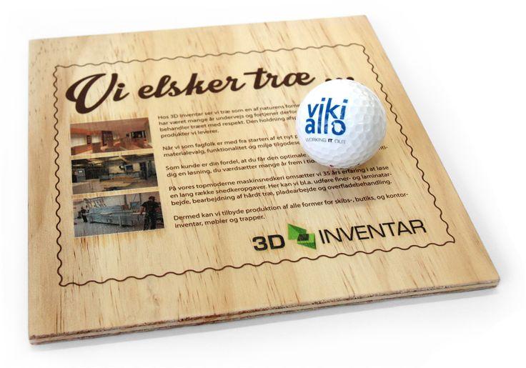 UV-print på golfbolde og print på træ.