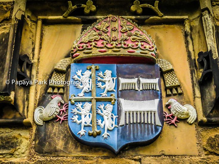 Coat of Arms of a facade of a building in Durham, United Kingdom.