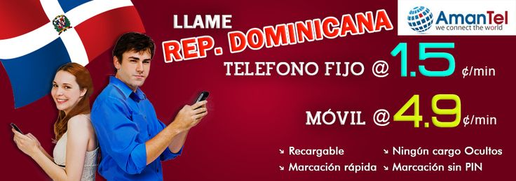 Amantel ofrece tarjetas telefónicas internacionales a bajo costo y tarjetas telefónicas para llamar a dominicana Representante de EE.UU. y Canadá, más baratos Comprar tarjetas telefónicas de larga distancia para tarjetas dominicana Representante de Amantel