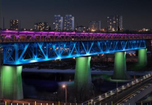 Lights on the High Level Bridge in Edmonton, Alberta  #yeg