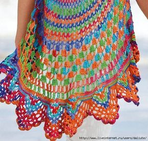 A must have multicolor round crocheted summer vest, by Junghans of Germany (KNIT & MODE) :)