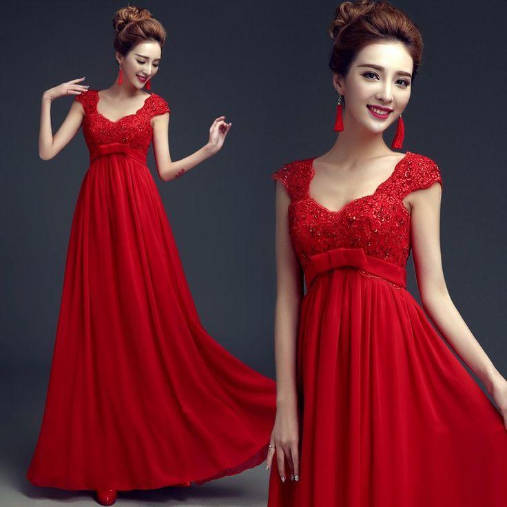 vestidos-de-novia-de-colores-para-embarazadas-rojo - Embarazo10.com