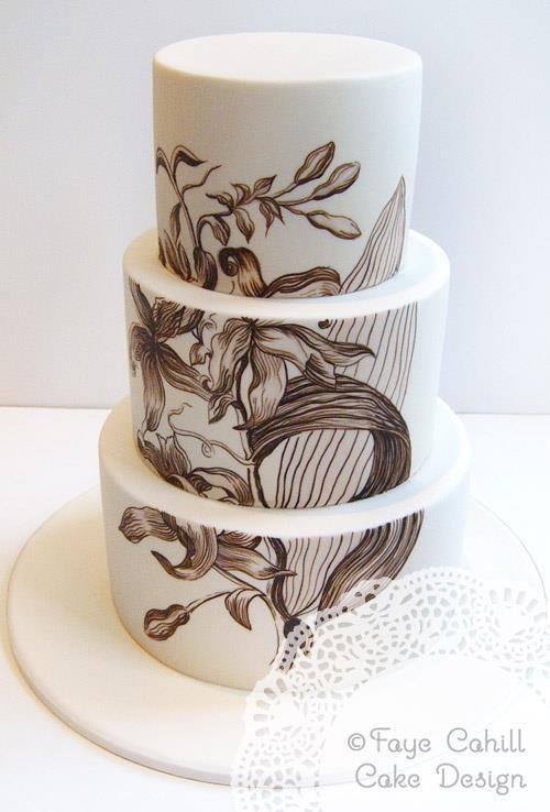 beautifully handpainted wedding cake