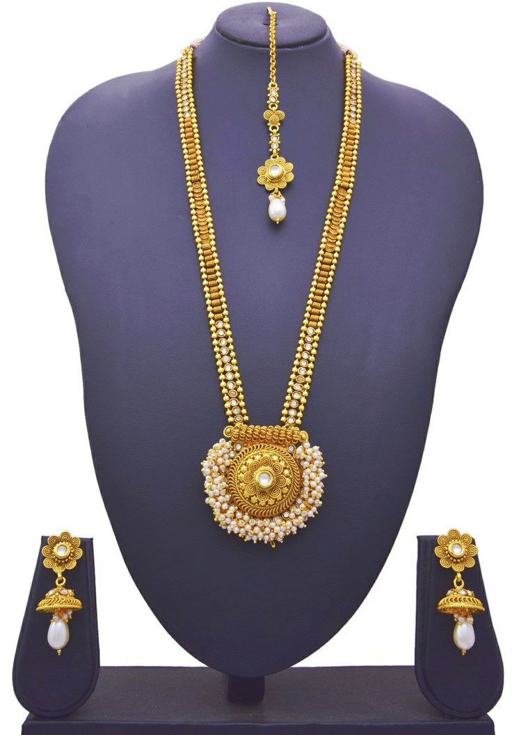 JFL - Traditional Ethnic One Gram Gold Plated Designer Long Necklace Set with Earrings for Women & Girls. Earring Size :- Ht: 5.5 cms, Wd: 2 cms, Wt: 10 gms. Necklace Ht: 31 cm, Wt: 59 gms, Total Weight: 77 gms OFFER Price INR 2449/-COD Original Price INR 3199/- Product Code: NS-90005063-144-JPJ Free Shipping n COD in India, International Shipping Available. To Order: Pls. forward your complete postal address with landmark, mobile no. n ur email id on jewelleryforless2222@gmail.com or…